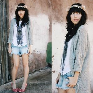 Grey wide knit cocoon sweater